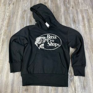 NWT Bass Pro Black Logo Hoodie Sweatshirt SZ XS